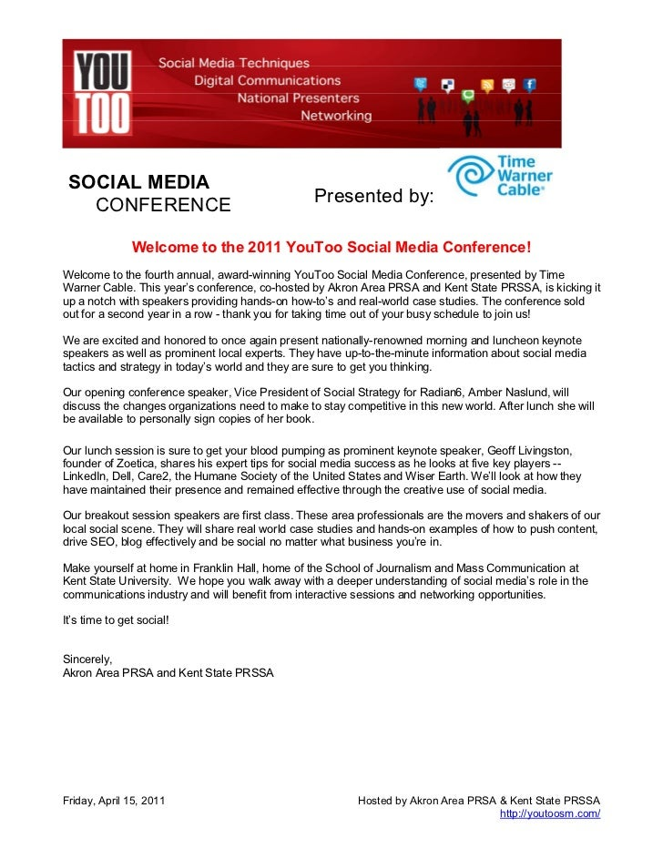 SOCIAL MEDIA   CONFERENCE                                     Presented by:               Welcome to the 2011 YouToo Socia...