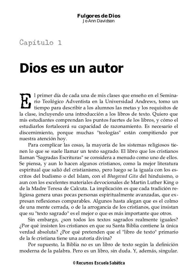 Fulgores de Dios                             Jo Ann DavidsonCapítulo 1Dios es un autorE        l primer día de cada una de...