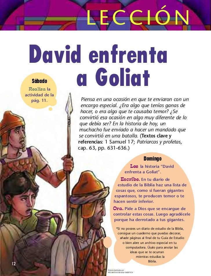 LECCIÓN       David enfrenta            a Goliat        Sábado       Realiza la     actividad de la        pág. 11.       ...