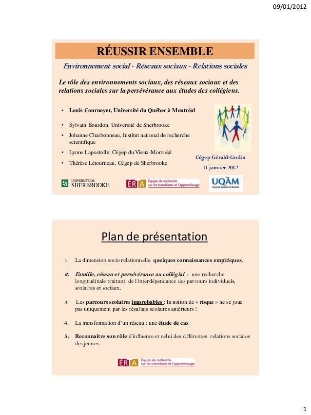 09/01/2012  RÉUSSIR ENSEMBLE Environnement social - Réseaux sociaux - Relations sociales Le rôle des environnements sociau...