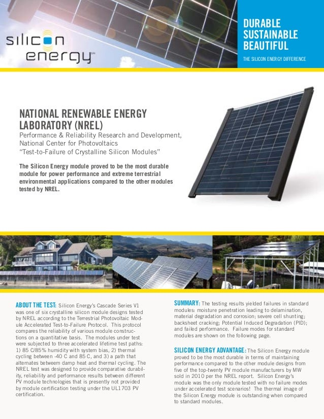 Silicon Energy - The Most Durable Solar PV Module
