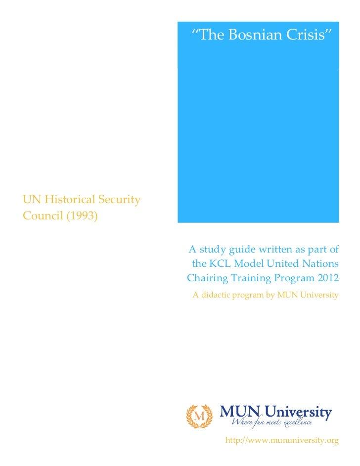 """""""The Bosnian Crisis""""                                                        UN Historical Security  Council (1993)..."""