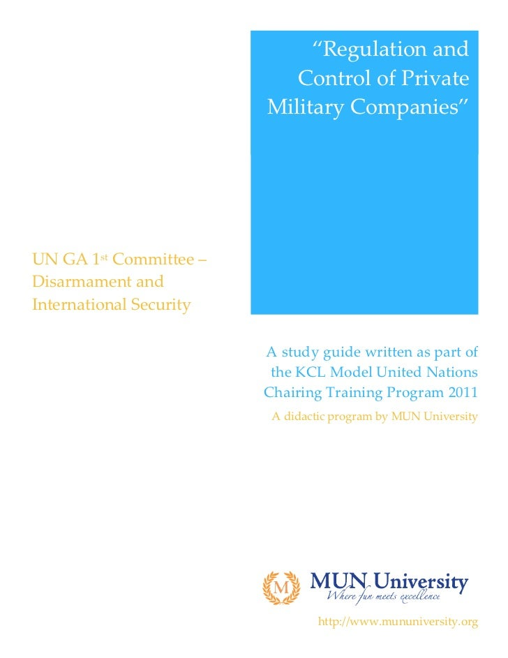 KCL MUN Study Guide - Private Military Companies (28/02/2012)