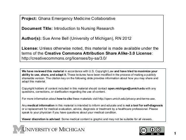Project: Ghana Emergency Medicine Collaborative Document Title: Introduction to Nursing Research Author(s): Sue Anne Bell ...