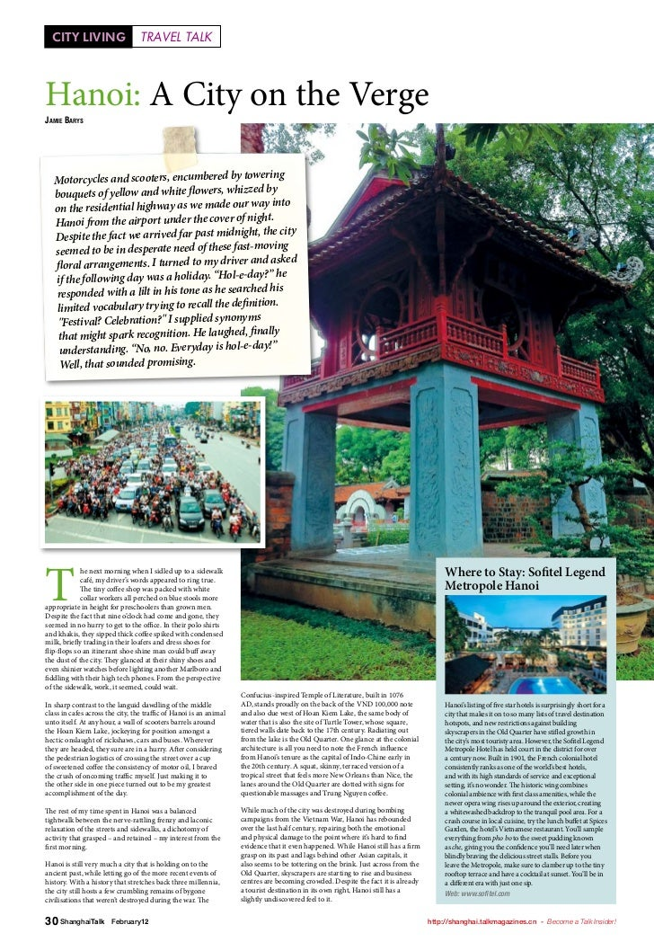 CITY LIVING                     TRAVEL TALKHanoi: A City on the VergeJamie Barys                                          ...