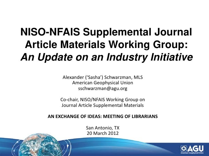 NISO-NFAIS Supplemental Journal Article Materials Working Group: An Update on an Industry Initiative