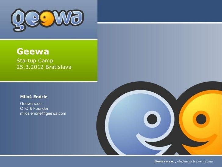 Geewa Startup Camp Bratislava