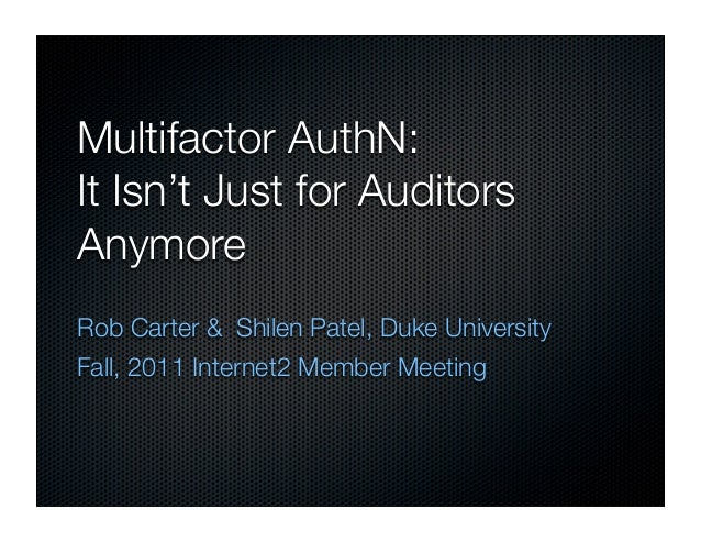 2012-03 MultiFactor Not Just For Auditors