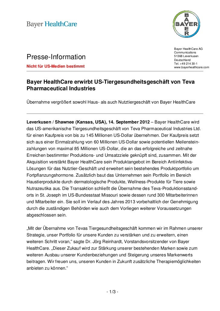 Bayer HealthCare AG                                                                         CommunicationsPresse-Informati...