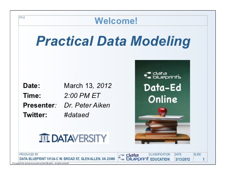 Welcome!         TITLE                               Practical Data Modeling              Date:                           ...