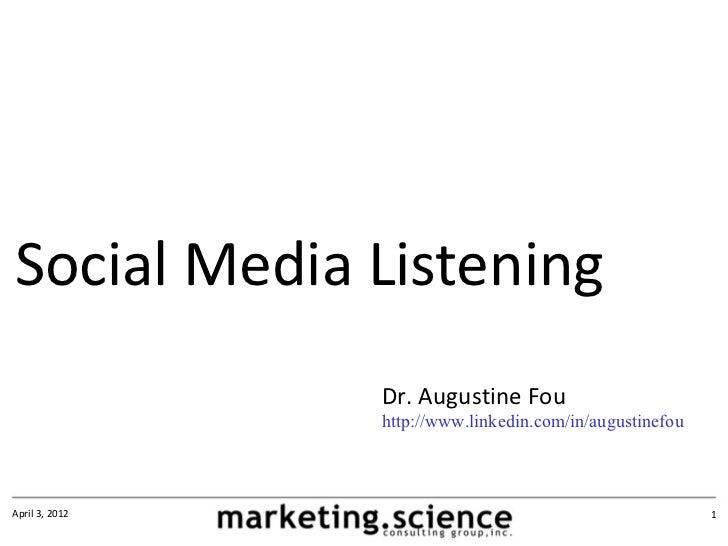 Social Media Listening by Augustine Fou