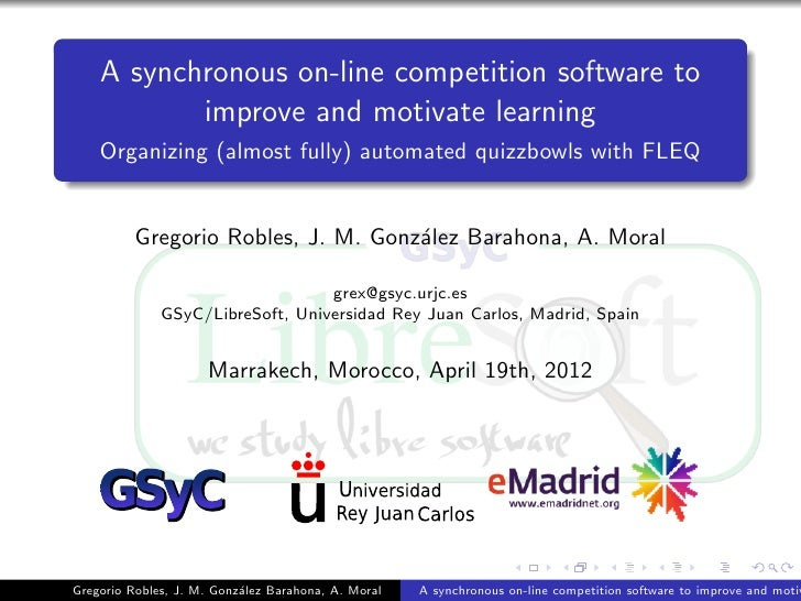 A synchronous on-line competition software to           improve and motivate learning    Organizing (almost fully) automat...