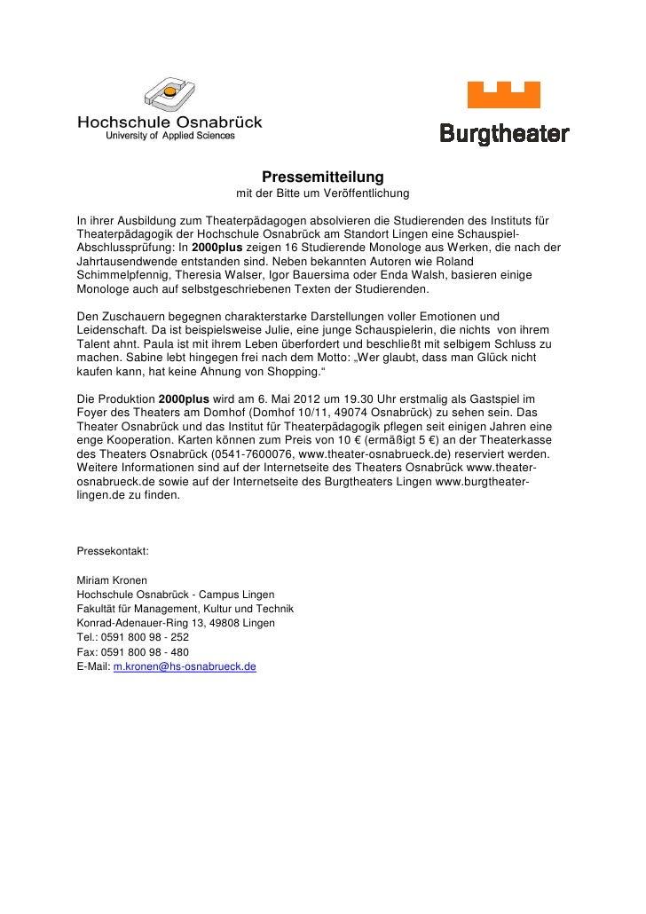 Pressemitteilung                               mit der Bitte um VeröffentlichungIn ihrer Ausbildung zum Theaterpädagogen a...
