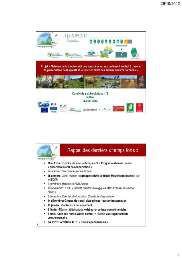 29/10/2012    Projet « Maintien de la biodiversité des territoires ruraux du Massif central à travers:      la préservatio...