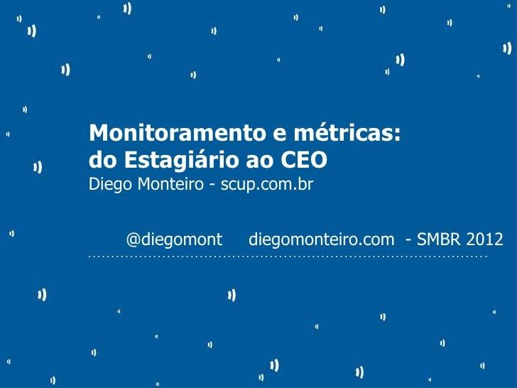 Monitoramento e métricas:do Estagiário ao CEODiego Monteiro - scup.com.br               @diegomont                        ...
