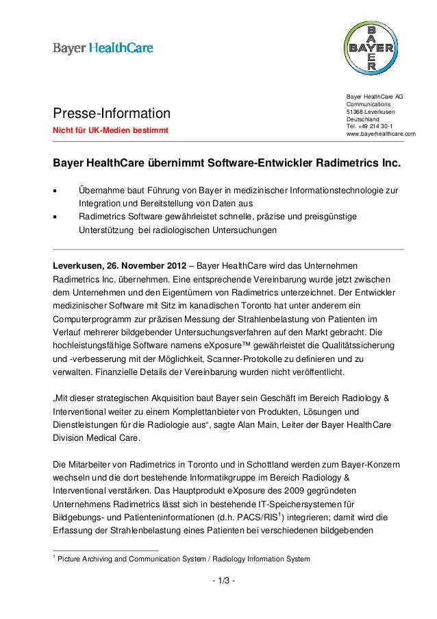 Bayer HealthCare AG                                                                                CommunicationsPresse-In...