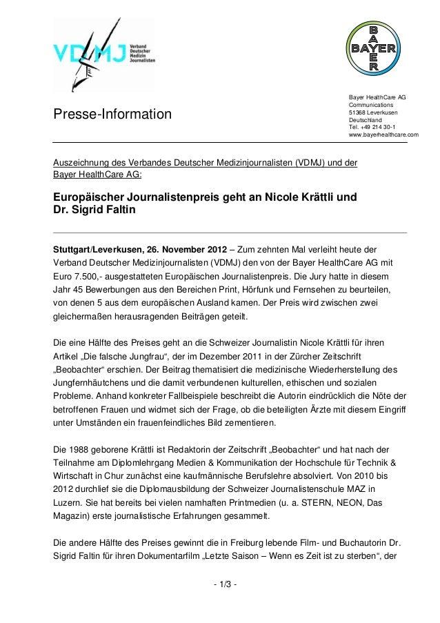Bayer HealthCare AG                                                                           CommunicationsPresse-Informa...