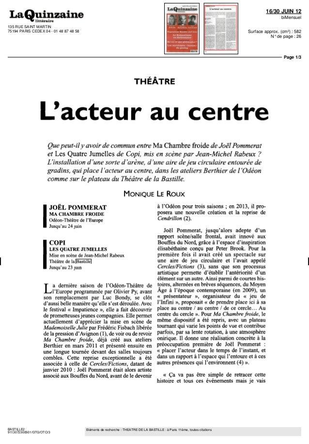 135 RUE SAINT MARTIN  75194 PARIS CEDEX 04 - 01 48 87 48 58  16/30 JUIN 12  biMensuel  Surface approx. (cm²) : 582  N° de ...