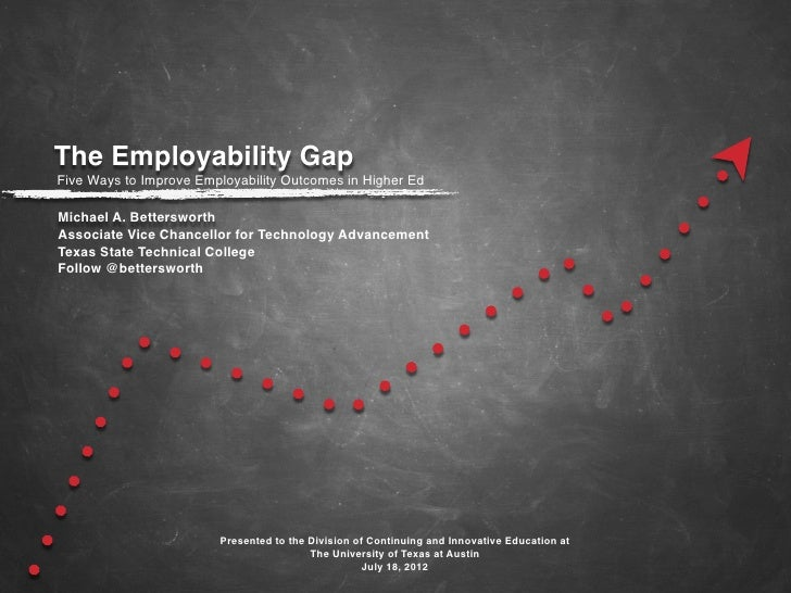 The Employability GapFive Ways to Improve Employability Outcomes in Higher EdMichael A. BettersworthAssociate Vice Chancel...