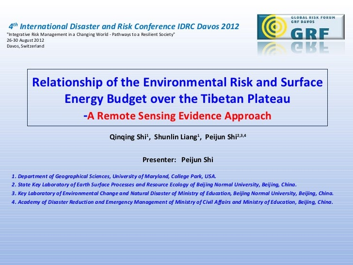 """4th International Disaster and Risk Conference IDRC Davos 2012""""Integrative Risk Management in a Changing World - Pathways ..."""