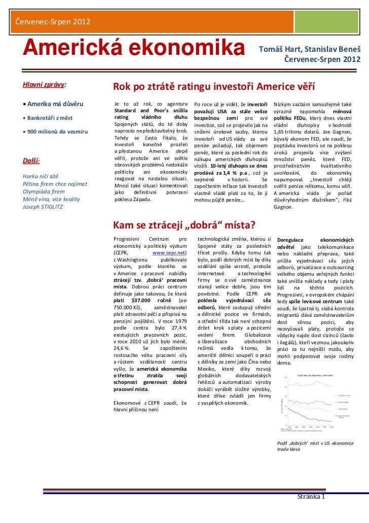 Červenec-Srpen 2012 Americká ekonomika                                                                               Tomáš...