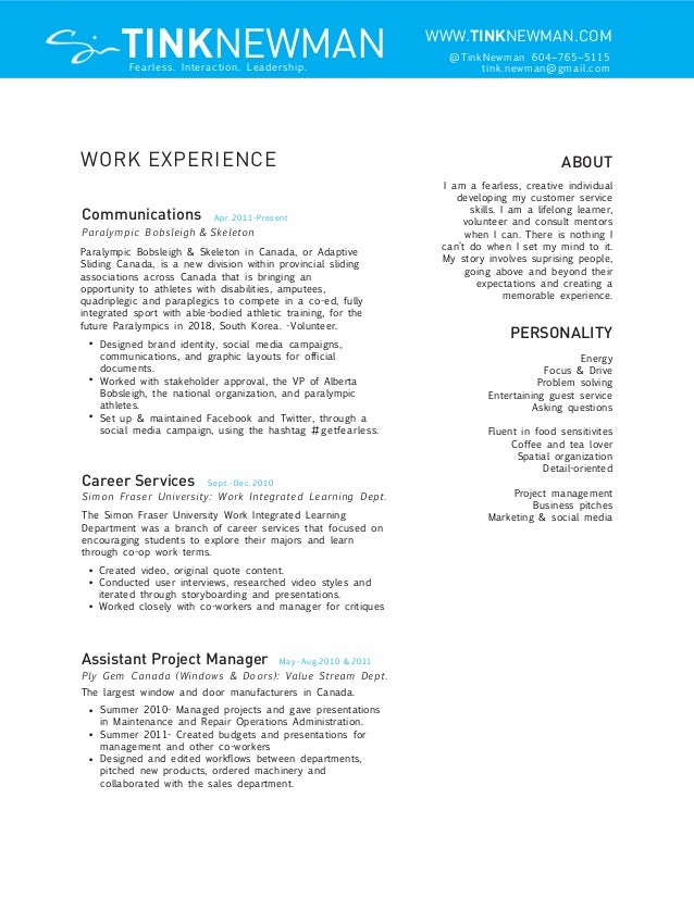august 2012 resume tink newman