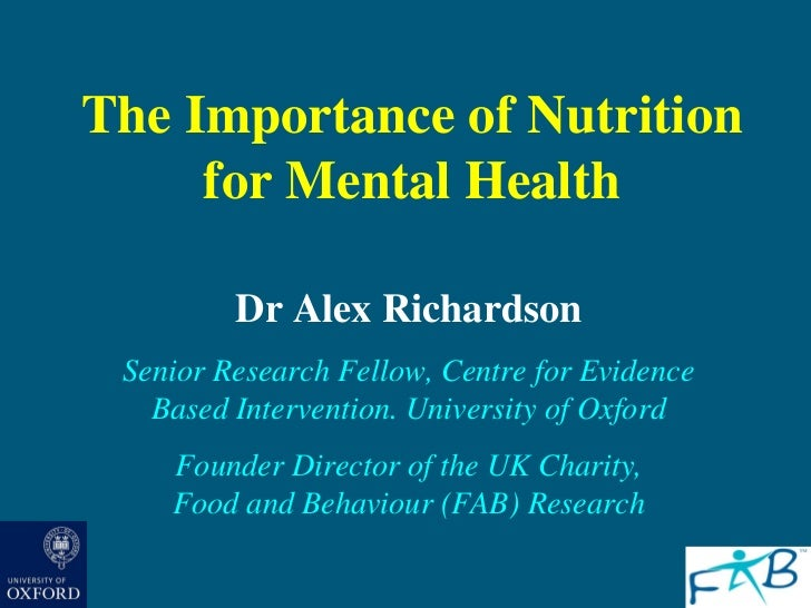 The Importance of Nutrition for Mental Health: Dr. Alex Richardson -