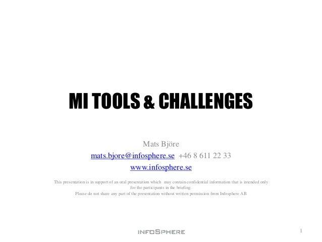 MI TOOLS & CHALLENGESMats Björemats.bjore@infosphere.se +46 8 611 22 33www.infosphere.seThis presentation is in support of...