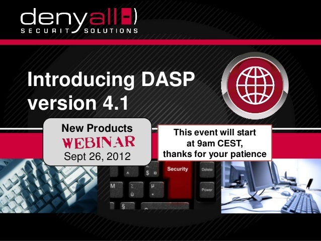 Introducing DASP          version 4.1                         New Products                              This event will st...