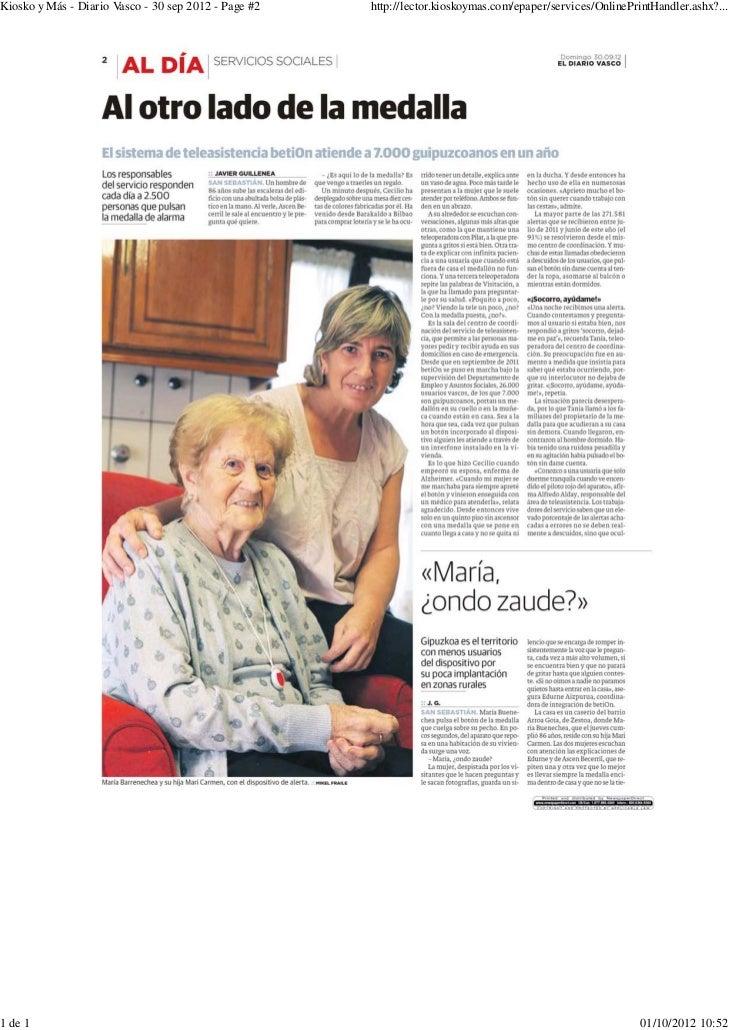Reportaje en el Diario Vasco sobre la Teleasistencia en Euskadi.