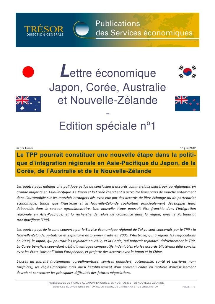 Lettre économique Japon, Corée, Australie et Nouvelle-Zélande  - Edition spéciale n°1