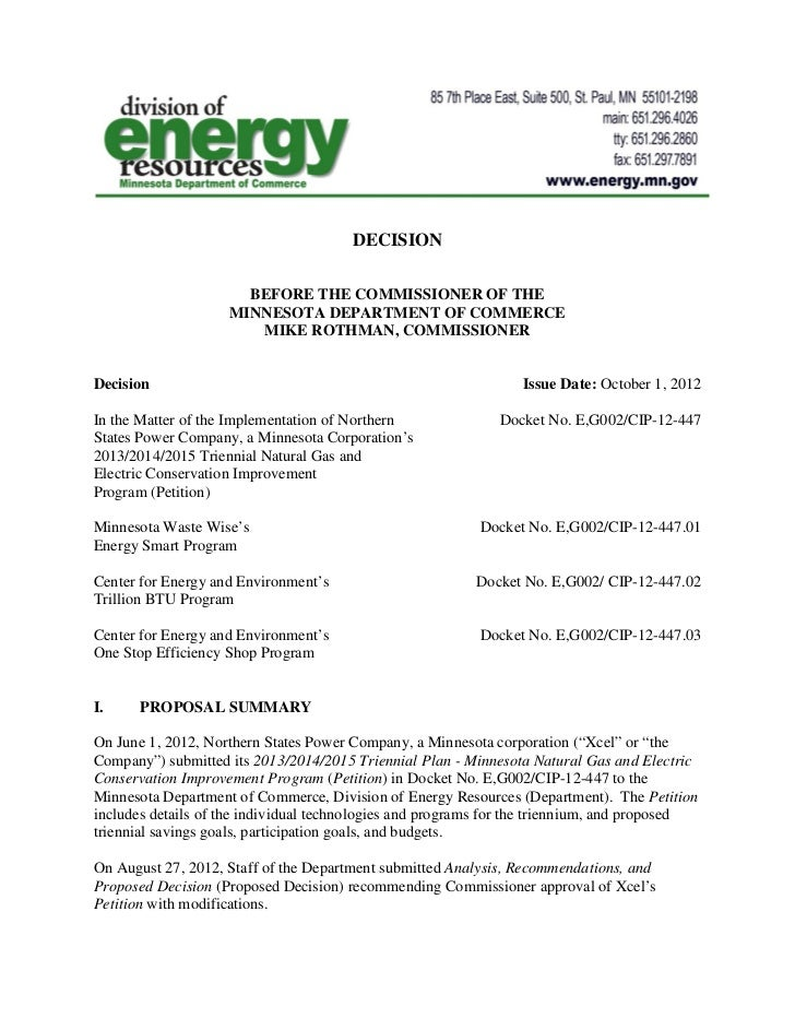 2012-10-01 Decision - Minnesota Department of Commerce - Division of Energy Resources