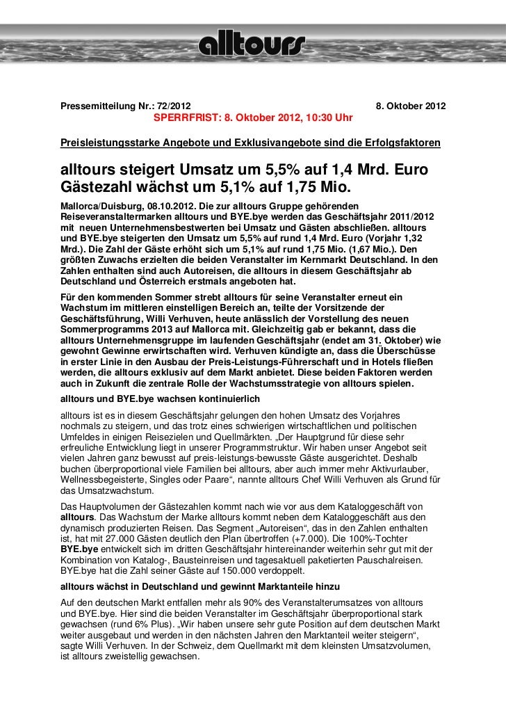 Pressemitteilung Nr.: 72/2012                                               8. Oktober 2012                      SPERRFRIS...