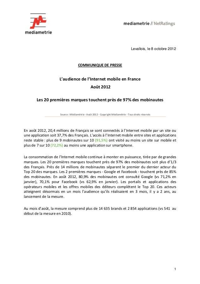 Levallois, le 8 octobre 2012                                     COMMUNIQUE DE PRESSE                      L'audience de l...