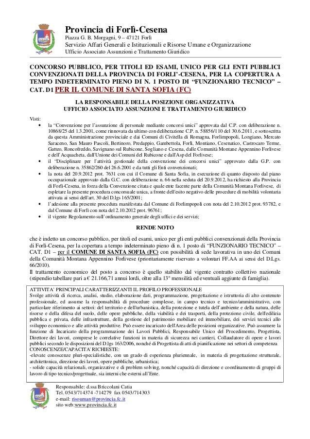 Provincia di Forlì-Cesena                  Piazza G. B. Morgagni, 9 – 47121 Forlì                  Servizio Affari General...