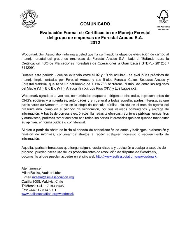 COMUNICADO                                          FSC Accredited                                                        ...