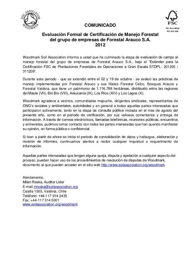COMUNICADO                                          FSC Accredited                                                        ...