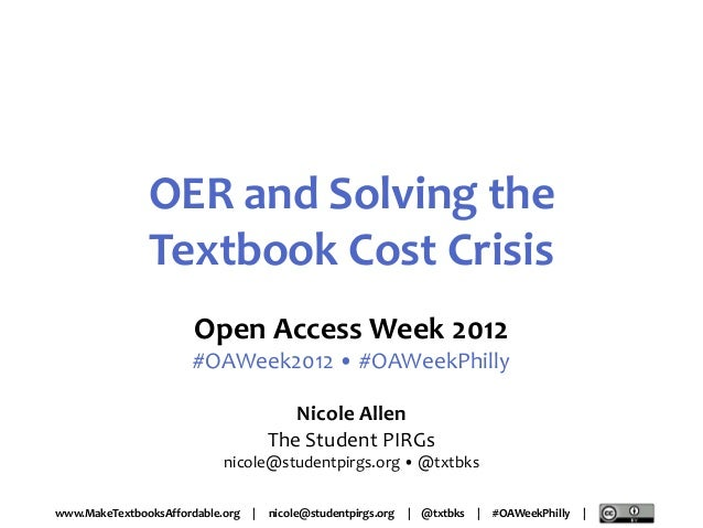 2012-10-24 OER and Solving the Textbook Cost Crisis