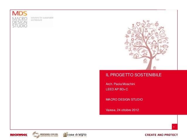 IL PROGETTO SOSTENIBILEArch. Paola MoschiniLEED AP BD+CMACRO DESIGN STUDIOVarese, 24 ottobre 2012                          1