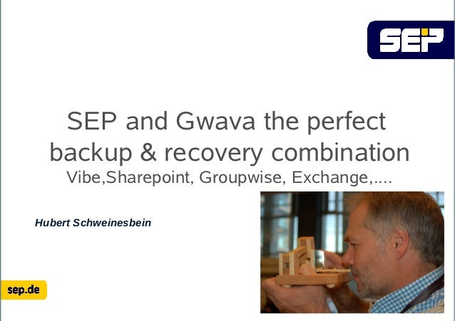 SEP and Gwava the perfect  backup & recovery combination     Vibe,Sharepoint, Groupwise, Exchange,....Hubert Schweinesbein