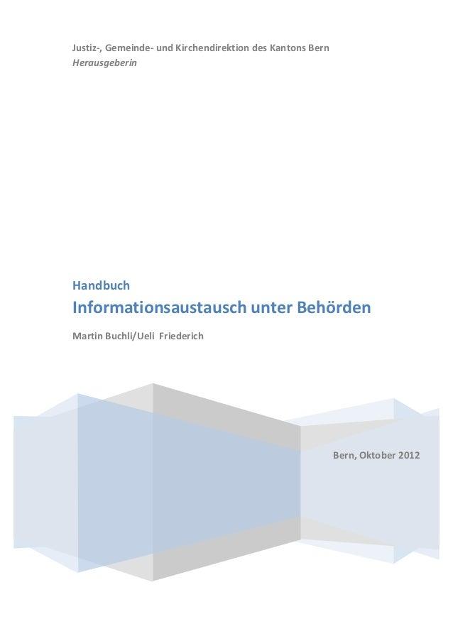 Handbuch Informationsaustausch unter Behörden - Kanton Bern