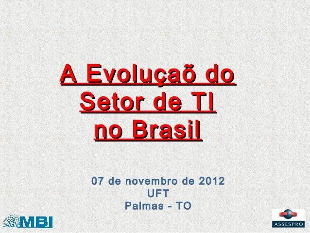 A Evoluçaõ do Setor de TI  no Brasil  07 de novembro de 2012            UFT        Palmas - TO