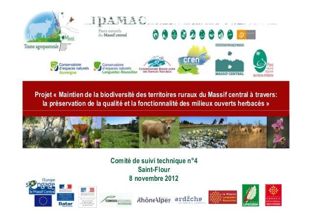 Projet « Maintien de la biodiversité des territoires ruraux du Massif central à travers:  la préservation de la qualité et...