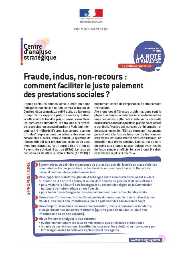 Nte d'analse du CAS : Fraude, indus, non-recours : comment faciliter le juste paiement des prestations sociales ?