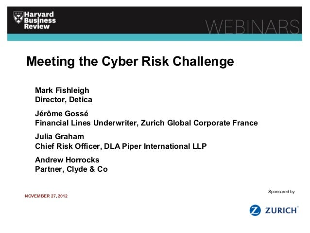 Meeting the Cyber Risk Challenge Mark Fishleigh Director, Detica Jérôme Gossé Financial Lines Underwriter, Zurich Global C...