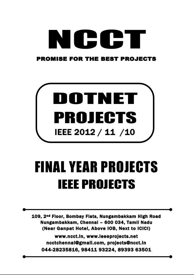 2012 11 ieee dot net ieee project titles yr 2012 - 11 - 10, ncct .net ieee project list