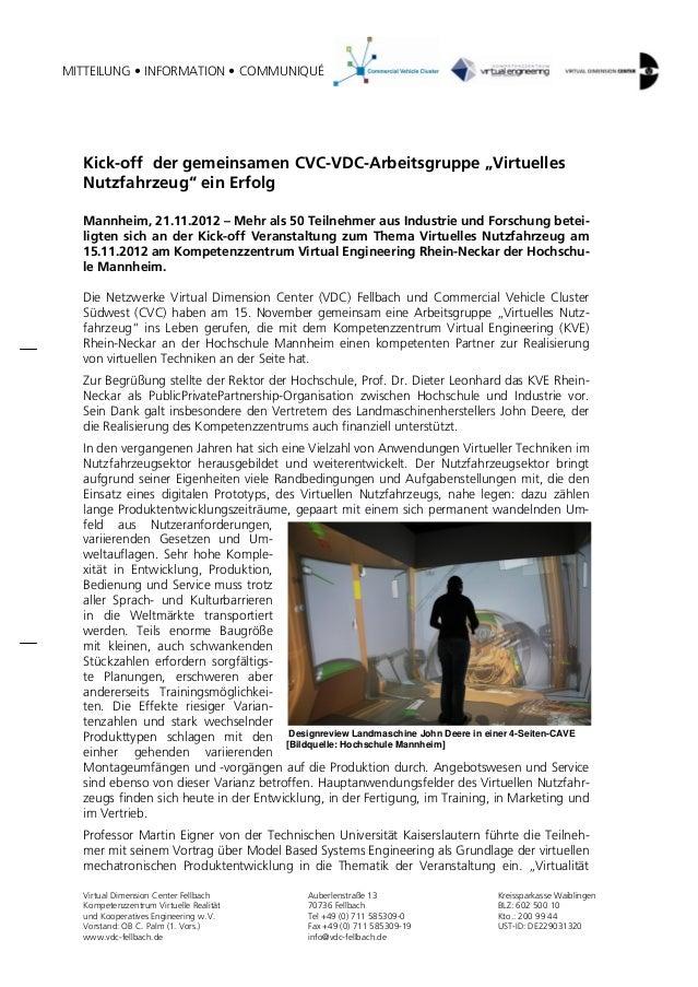 """MITTEILUNG • INFORMATION • COMMUNIQUÉ  Kick-off der gemeinsamen CVC-VDC-Arbeitsgruppe """"Virtuelles  Nutzfahrzeug"""" ein Erfol..."""