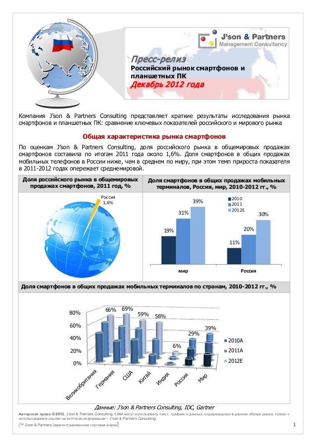 Пресс-релиз: Российский рынок смартфонов и планшетных ПК. Декабрь 2012 года. Россия1,6