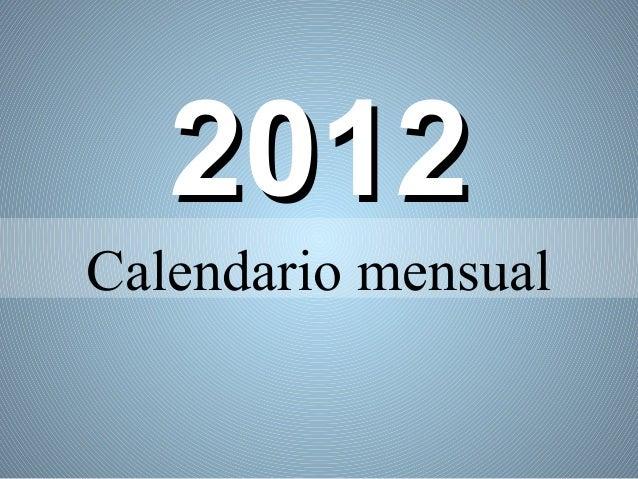 2012Calendario mensual