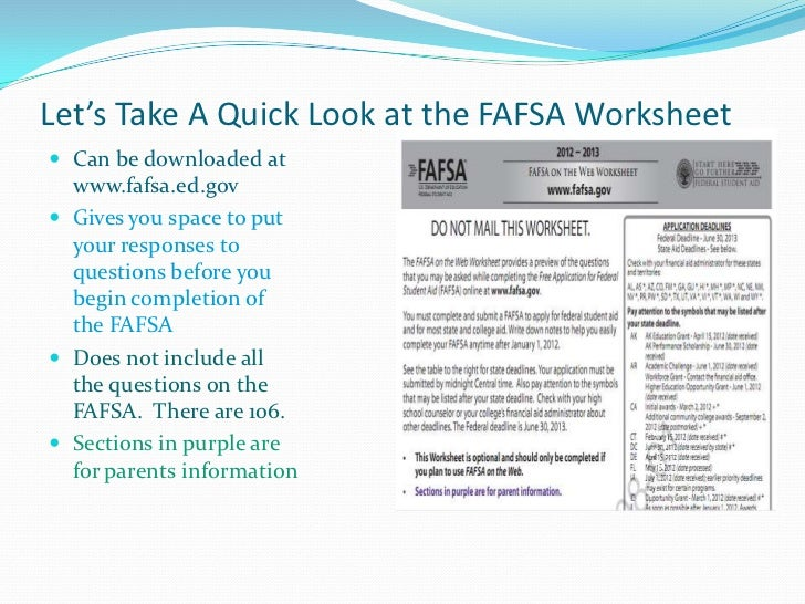 Worksheet Fafsa Worksheet fafsa on the web worksheet 15 16 intrepidpath 14 2016 13 hs f a presentation parsippany